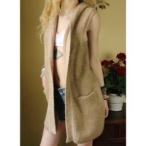 LIKE NEW Tahari Long Knit Hood Sweater Cardigan